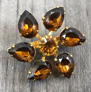 VINTAGE GOLD TONE GINGER AND ORANGE 6 FACETED STONES LADIES  BROOCH LOVELY