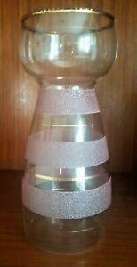 VINTAGE 1950s GLASS HYACINTH VASE PINK FROSTING