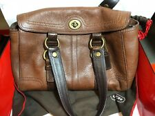 Pre Owned Coach Jacquard Tumble Leather Shoulder Purse CO793-10953