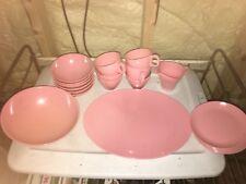 Vintage 1960s Boonton Ware Plastic Melmac Dish Cup Bowl Plate Set Pink
