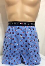 Tommy Hilfiger Button Fly Woven Boxer X-Large 40-42 English Blue w/Flag Icon -01