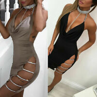 Club Mini Bodycon Cocktail Short V Dress Deep Women's Bandage Sexy Evening Party