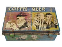 Coffee Beer Vintage Painted Metal Trunk Chest Retail Display Home Furniture