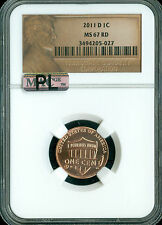 2011-D LINCOLN LOGO CENT SHIELD NGC MAC MAC MS67 RED PL 2ND FINEST SPOTLESS *