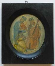 Karczmar JEWISH FOLK MUSICIAN BAND Oil Painting Judaica Poland France Israel Art