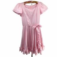 Vintage Dress Small S Ruffled Prairie Cottage Core Full Skirt Pink Swiss Dot