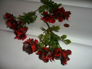 Vintage Plastic Red Varigated / Black Primrose Flowers