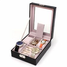 4 Slot Black Leather Jewelry Watch Ring Box Case Glass Top Display Crocodile