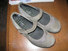 Womens CLARKS Wave Cruise Mary Jane Flats Shoes-Nubuck Leather-6M-NICE!