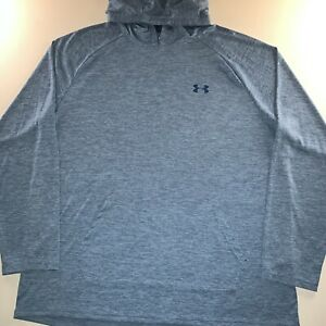 Mens Under Armour Heat Gear Pullover Hoodie Shirt Blue Size XX Large NEW
