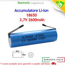 Batteria Ricaricabile Litio 18650 3.7V 2600mAh 7/5AF linguette a saldare lamelle