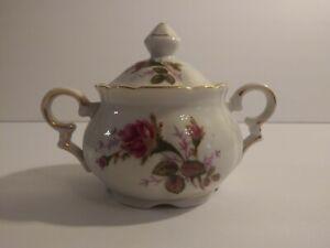 """Vintage Porcelain Sugar Bowl Pink Floral Moss Rose 5 1/2"""""""
