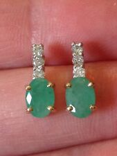 14K Yellow Gold Emerald & Diamond Pierced Earrings As Is For Post Repair