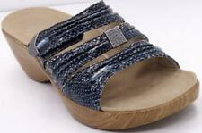 Abeo Slide on Sandals Strappy Blue/Silver leather Women's Shoes Sz 9 M