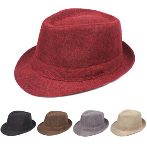 Men Women Classic Fedora Hat Casual Outdoor Solid Color Trilby Panama Jazz Caps