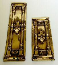 Pair Antique Brass Copper Door Finger Plates Circa 1900