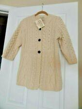 NWT Kilronan Knitwear Sweater XS Ivory Merino Wool Aran Cable Knit Cardigan