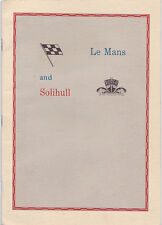 Livret ROVER BRM le MANS- rare booklet from ROVER - turbine - 24 heures du Mans