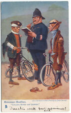 Comic Bicycle and Police Tucks John Hassall Ref 764 Newspaper Headlines