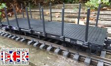 G SCALE FLATBED TRUCK, POSTS & STRAPPING  RAILWAY FREIGHT  45mm FLAT GAUGE TRAIN