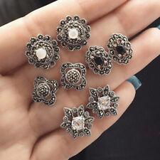 4 Pairs Vintage Hollow Flower Rhinestone Ear Stud Earring Women's Jewelry Latest