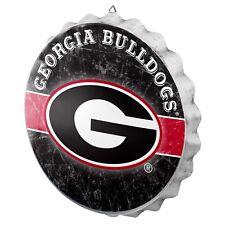 "Georgia Bulldogs Bottle Cap Wall Sign - Distressed - Room Bar Decor Metal 13.5"""