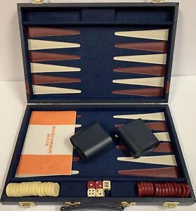 Vintage Backgammon Game Set Large Blue Faux Leather Folding Case Complete!
