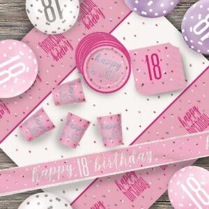 Pink Glitz 18th Birthday Party Supplies Decorations (Confetti Strings Napkins)