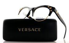 New Authentic VERSACE Shiny Black Gold Medusa EyeGlasses Frame VE 3232 GB1