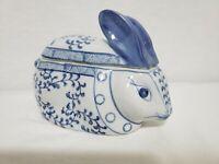 Lovely Vintage Bunny Candy Dish or Trinket Dish - Beautiful Blue Leaf Design