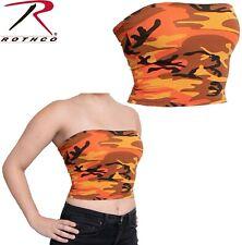 Orange Camouflage Tube Top Strapless Bandeau Crop Tops Bra Breast Wrap Cami 1667