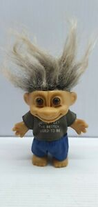 The older I get the better I used to be troll doll pair 10cm grey hair 90's Russ