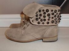 STUDDED All Saints STONE SUEDE LEATHER STUD MILITARY WINTER BOOTS SIZE 5