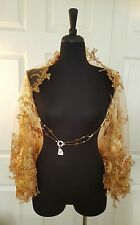 New Gold Embroidered Floral Tulle Lace Top Shrug Wrap Bridal Wedding Jacket