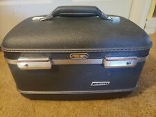 Vintage American Tourister Tri-Taper Train Makeup Case Blue Hard Luggage 1960s