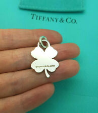 Tiffany & Co. Silver LARGE Lucky Shamrock Clover Charm Pendant and Spring Ring