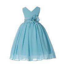 Elegant Yoryu Chiffon V-neck Bodice Flower Girl Dresses Pageants Birthday 503NF