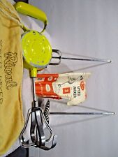 Vtg Mid Century Rival Speed Mixer Yellow Hand Beater w/ Cloth Bag & Attachments