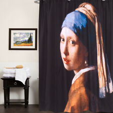100% Polyester Fabric Shower Curtain Vermier Girl With Pearl Earring Print