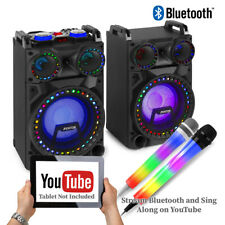 More details for vs-10 karaoke party speaker system, bluetooth with light up led microphone set