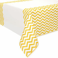"54"" x 108"" Yellow White Chevron Zig Zag Party Disposable Plastic Table Cover"