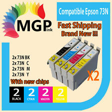 8x Compatible for Epson 73N Ink Cartridges Stylus TX110 TX200/210/300F TX400/...
