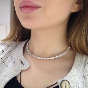 One Row Silver Plated Crystal Cubic CZ Choker Tennis Necklace Bridal N10