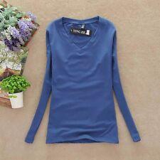 Womens Slim Casual Long Sleeve V-neck Plain T-shirt Pullover Basic Tops Blouse