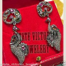 Artdeco Estate 3.82Cts Rose Cut Diamond Gemstone Studded Peacock Jewelry Earring
