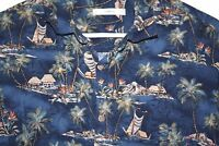 Mens Hawaiian Shirt size L Tropical Island Boat Blue 100% Rayon Campia Moda --TT