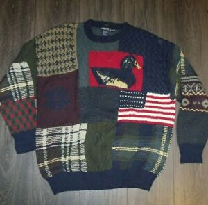 VTG Nautica Patchwork Sweater SIZE MEDIUM 100% Cotton Nice Shape