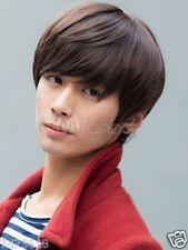 100% Real Hair! Fashion Korean Men's Short Brown Straight Wigs Human Hair Wig