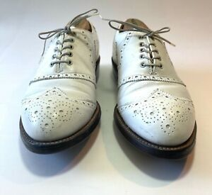 Vtg BOSTONIAN Golf Shoes Men's 8 E White Wing Tip Leather Sole Lace-up Spikes
