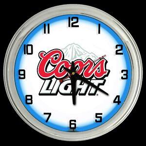 "16"" Coors Light Beer Sign Blue Neon Clock Man Cave Garage Bar"